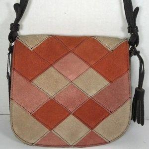 Brampton London Suede Patchwork Shoulder Bag